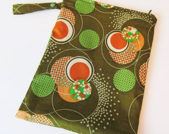 Olive with Orange Dots Wet Bag With Snap Handle and Zipper Closure 9.5 x 13 .. FREE Shipping
