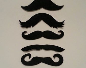 5 Pack Adhesive Felt Mustaches (ADULT SIZE), Adhesive Mustaches, Adhesive Moustache, Moustache, Mustache Party Favors