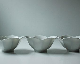 3 medium white porcelain lotus bowls