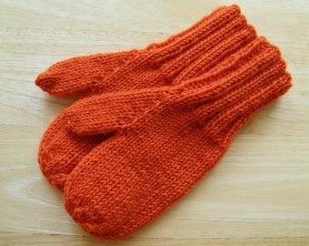 Child Medium Mittens Wool Hand Knit Tangerine