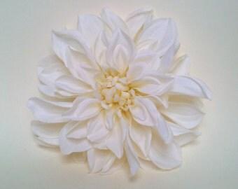 """6"""" White Dahlia Hair Clip"""