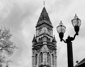 Nashville's Customs House Tower -- black and white photograph