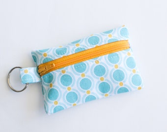 Small Zipper Pouch, Ear Bud Holder, Credit Card Case, Acorn Chain