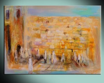Western Wall original art interior design giclee canvas print Home Living Jewish heritage composition Wall Decor Housewares Wall hangings