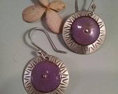 Torch Fired Enamel and Sterling Silver Earrings in Purple