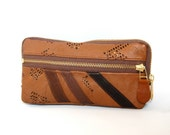 Leather wallet/clutch in chocolate brown