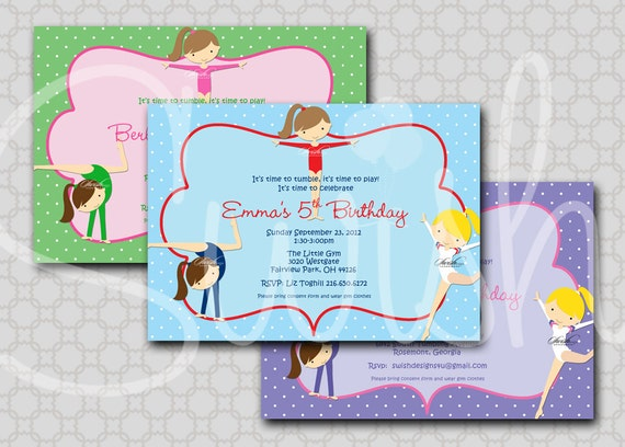 Girls Gymnastics Invitation Tumbling Party Girl Gymnasts pink purple green blue printable party - Digital Invite