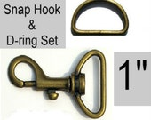 "20 SETS - 1"" - WRISTLET Hardware, Purse Strap Clip, 1 Inch D ring and 1 Inch Swivel Snap Hook, Antique BRASS"
