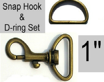 """20 SETS - 1"""" - WRISTLET Hardware, Purse Strap Clip, 1 Inch D ring and 1 Inch Swivel Snap Hook, Antique BRASS"""