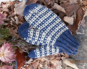 New England wool mittens in midnight blue and cream hand knit