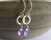 Ametrine Sterling Silver Earrings : Purple Faceted Gemstones with wire wrapped Round Discs Dangle