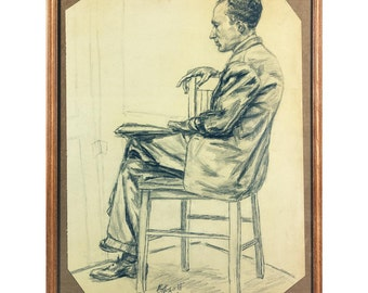 Seated Man In Profile, A Framed Charcoal Portrait on Paper, 25 by 19 inches