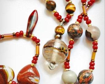 I Heart You Gemstone Necklace  with Unakite, Tiger Eye, Mookaite, Red Orange Gold Copper, Goldstone, Lampwork, Art Careers, Sarahbushka