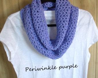 Crochet Infinity Scarf neckwarmer cowl trendy scarf infinity scarf crochet scarf Colors Lavender Periwinkle White SHIPS NOW