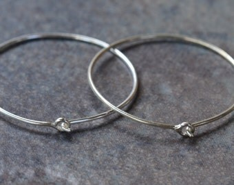 2 Sterling Silver Hoops - 25mm Solid .925 Sterling Silver Hoop