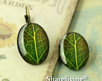 4pcs 18x25mm Handmade Photo Glass Cabs Cabochons  (Leaf)  -- BCH833Y
