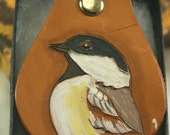 Black Capped Chickadee Keyring made with tanned cow hide by hand