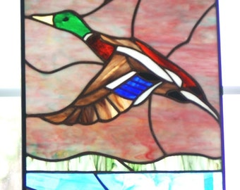 Handmade Stained Glass Panel of a Mallard Drake in Flight.
