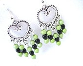 Black and Green Beaded Handmade Silver Heart Dangle Earrings Pierced or Clip