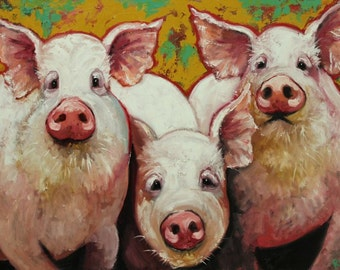 Pigs painting 19 30x40 inch original oil painting by Roz