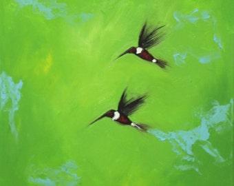 Birds painting 134 16x20 inch original humminbirds portrait oil painting by Roz