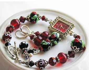 HOLIDAY SALE 35% OFF  - Beaded Watch Bracelet Matching Earrings Ruby Red Cherries Lampwork Glass, Sterling Silver Black Green