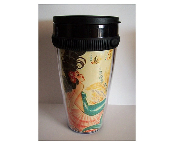 retro mermaid travel mug vintage 1950's pin up girl rockabilly nautical coffee cup