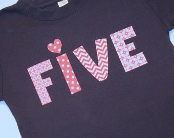 FIVE Girls 5th Birthday Shirt - size 6 short sleeve navy blue shirt with pink lettering and heart