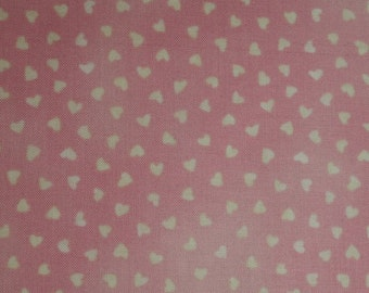"REMNANT 35""x43"" Hearts in Pink cotton fabric ~ Aunt Lindy's Paper Dolls ~ Blue Hill b7176-6"