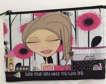 Makeup Bag  6x9 and compact mirror set