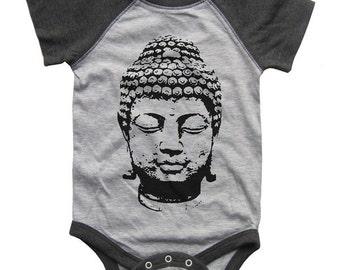 Buddha BABY Bodysuit Raglan one piece shirt creeper Baseball jersey screenprint