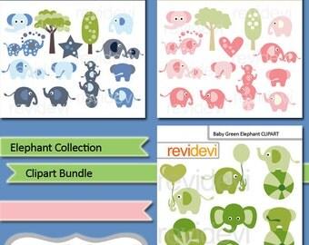Elephant clipart sale bundle commercial use / elephant digital clip art / party elephant Clip art, pink, blue, green / instant download