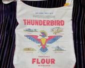 Simple Cotton Bag from a Vintage Thunderbird Flour Sack, Colorful