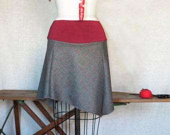 Womens Skirt, Wool Mini Skirt, Winter Fashion, Asymmetrical, Flared Skirt, Winter Style, Cute Skirt, Gray Wool, Windowpane, Organic Bamboo