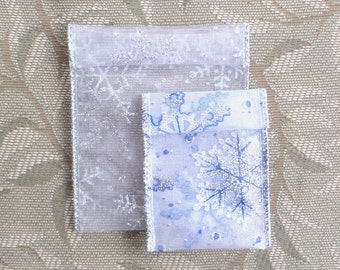 Jewelry Bead Pouches - 10 Snowflake Silver White Glitter