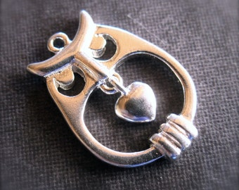 Solid Sterling Silver Owl Charm with hanging heart
