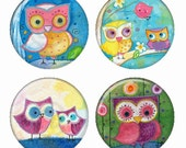 Colorful Whimsical Owls Magnets or Pinback Buttons or Flatback Medallions Set of 4