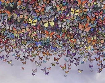 butterfly cascade - 8X10 inch signed digital illustration art print, butterflies mariposa insects flying colorful fantasy bugs purple black
