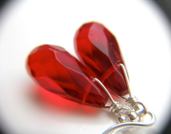 Red Teardrop Earrings . Ruby Red Earrings . Blood Red Dangle Earrings . Red Drop Earrings Half Circle Earwires - True Romance Collection