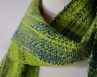 Handwoven Handspun Scarf in Blue and Electric Green - Slightly Sparkly Handspun Woven Scarf With Fringes. Dorado Fish.