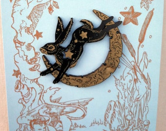 Lunar Hare engraved maple wood brooch