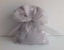 Gray & Silver Heart Fabric Favor Bags With Attached Ribbon Qty 40 - Wedding, Shower, Party