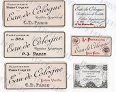 6 French Perfume Labels Black and White with Red Accents Paris Parfumeries