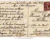 French Script Christmas 1927 Cher Francois Calligraphy Postcard Message Digital Printable