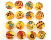 DooDles Glass Gems - Yellow- Hand Painted Mosaic Tiles