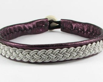 Purple Metallic Sami Bracelet - Leather Wrap Tin Metal Thread Braided Bracelet with Reindeer Leather and Antler Button Clasp