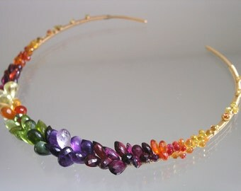Rainbow Gemstone Collar -  Encrusted Gold Filled Choker - Sapphire - Amethyst - Peridot - Garnet - Artist Made - Original Design - Signature