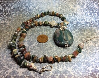 handmade OOAK  sterling silver and fancy jasper pendant necklace