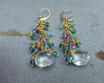 Rock  Quartz Dangler  Earrings