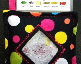 I Spy Bag - Mini with SEWN Word List and Detachable PICTURE LIST- Polka Dots